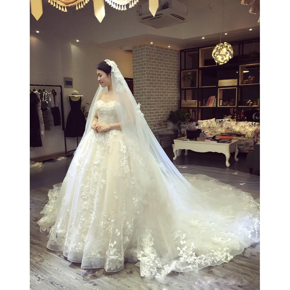 sewa sewa baru pengantin tube top gaun pengantin ekor panjang Korea ukuran  besar renda Slim adalah w