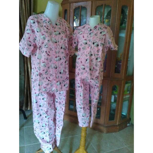 Piyama Couple Ibu Dan Anak Katun Jepang Catra Baju Tidur Kekinian Pajamas Mom And Kids