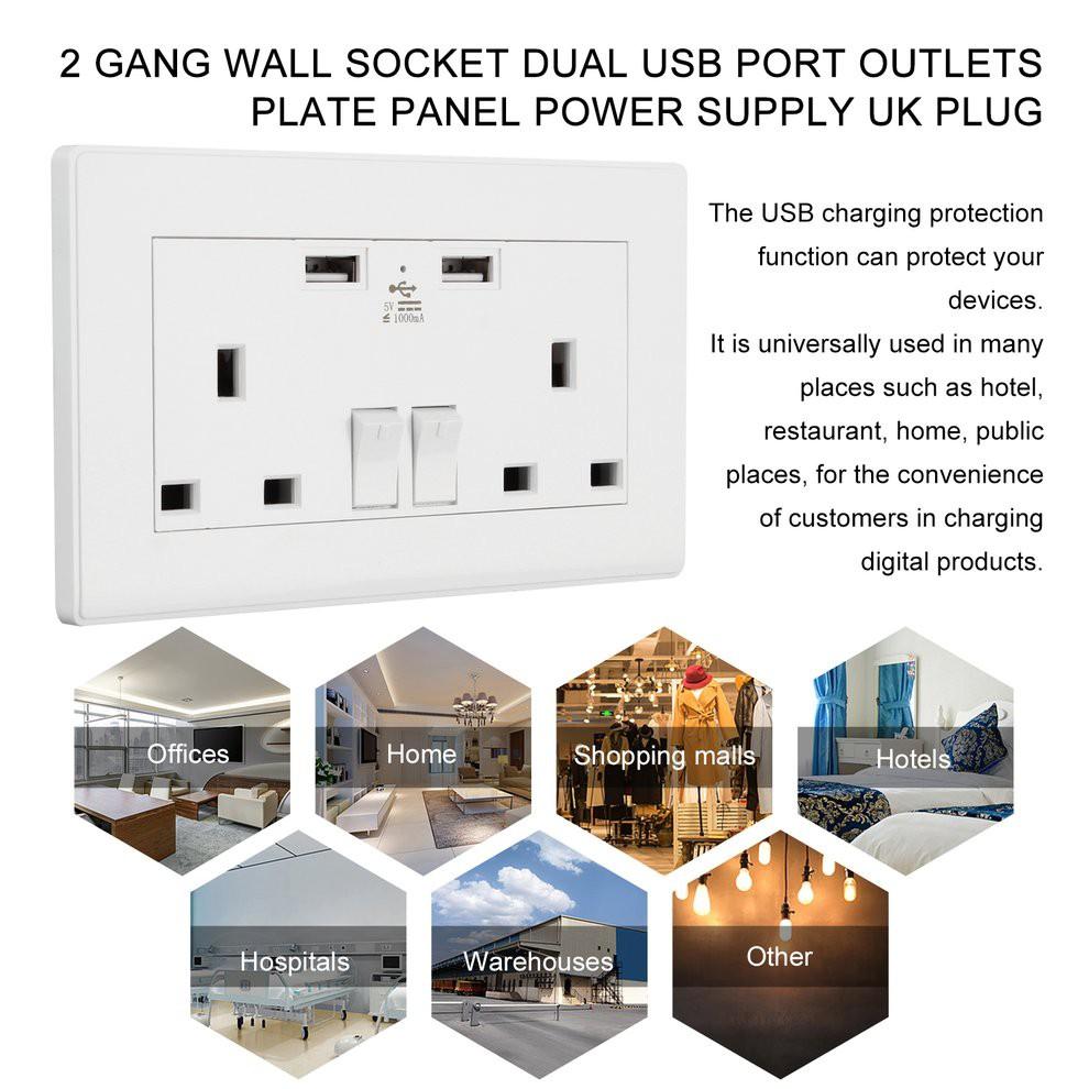 Bayar di Tempat Stop Kontak Dinding dengan Port USB 2 Gang 1000mA Plug on
