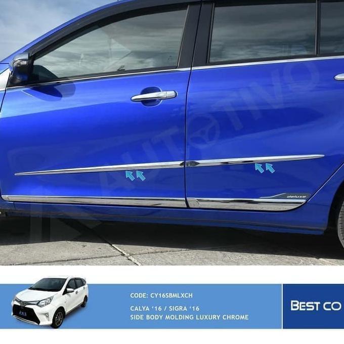 Jual Aksesoris Otomotif Mobil Side List Lis Body Moulding Pintu Samping Chrome Calya Sigra Shopee Indonesia