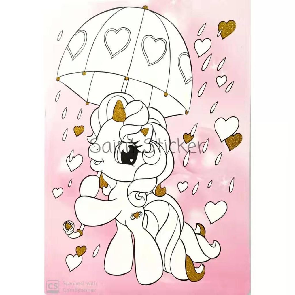 Kanvas Lukis Mewarnai Drawing Canvas Anak Karakter Kartun Little Pony Shopee Indonesia