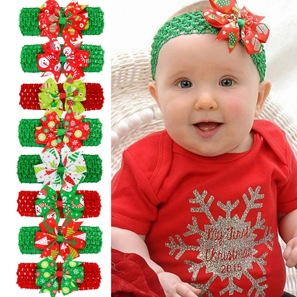 Christmas Headband For Baby Girl.Newborn Toddler Kid Baby Girls Bow Christmas Headband Headwear Accessories
