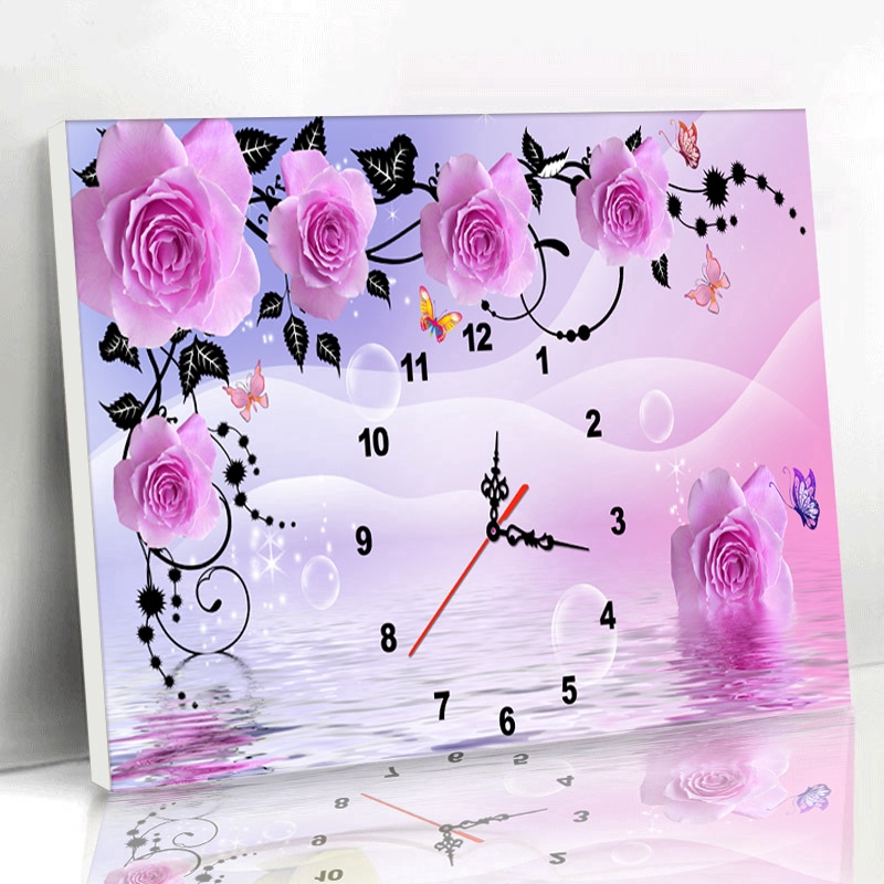 5D Pink Rose Bead Diamond Sticker Embroidery Painting Cross Stitch Home Deco DIY