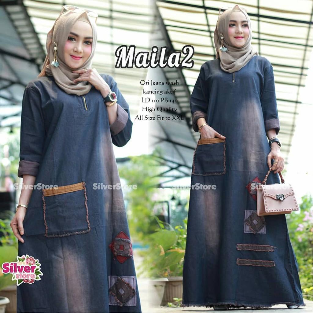 Gamis Jeans Maila Size S M L Xl Dress Baju Muslim Pakaian Wanita Model Terbaru Shopee Indonesia