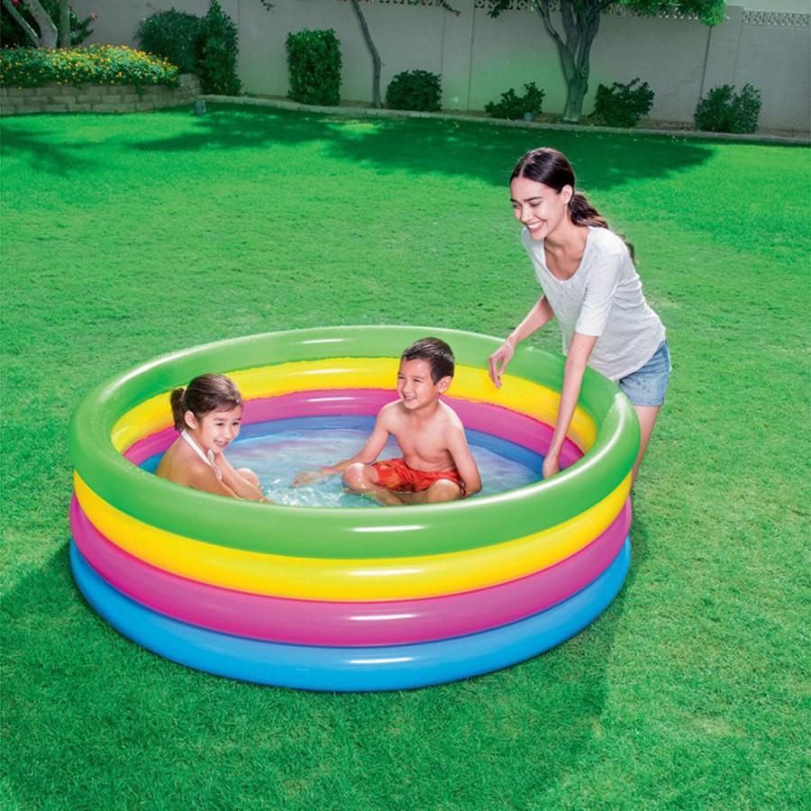 Bestway Rainbow Summer 4 Ring Pool 157cm. Kolam Renang Anak (51117) | Shopee Indonesia