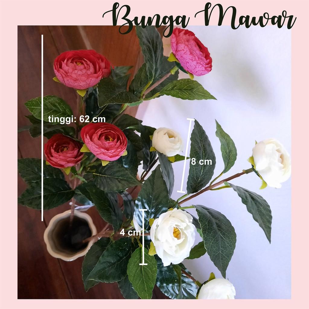 B001 Bunga Mawar Artificial Plastik Isi 4 Tangkai Tanaman Hias Palsu Dekorasi Rumah Merah Putih Shopee Indonesia