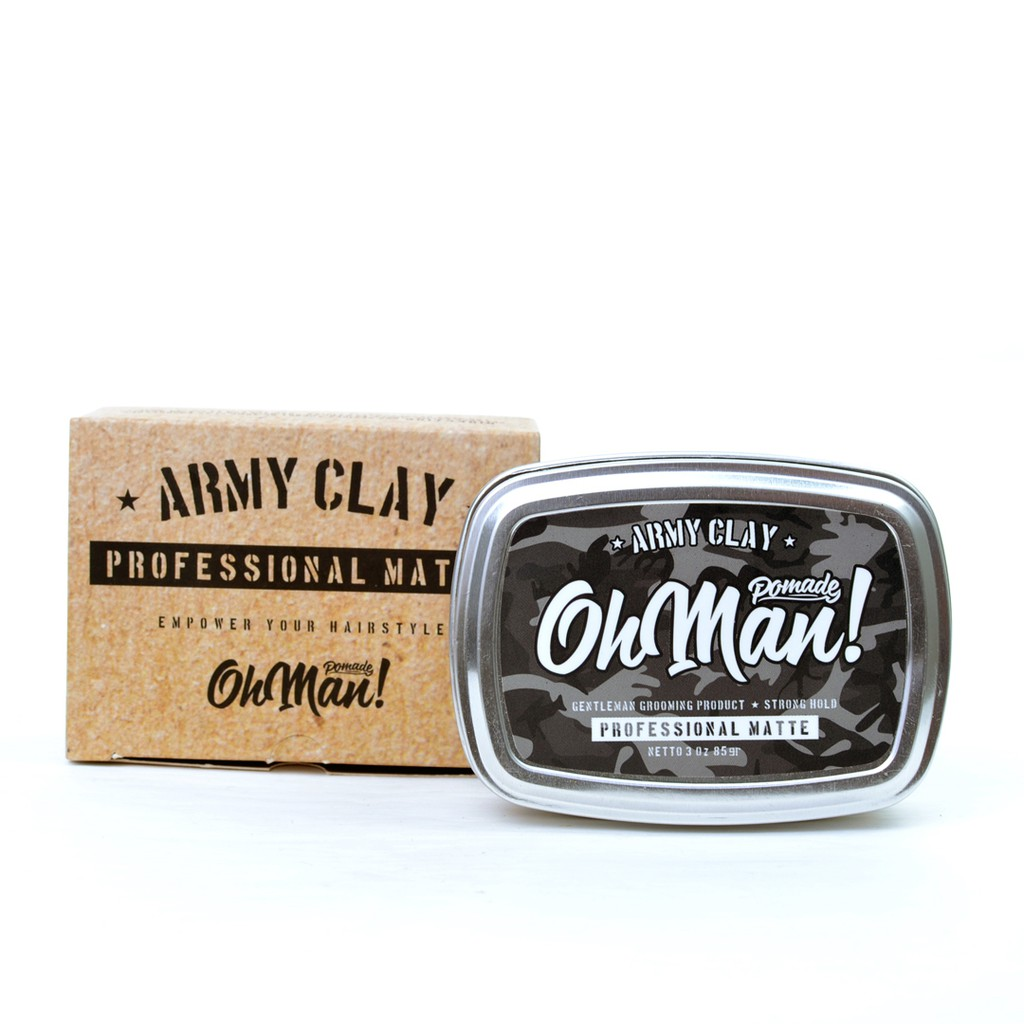 New Oh Man Mini Army Clay Professional Matte Pomade Shopee Indonesia Nutri Green Divine Wax Based Oilbased Oil Free Sisir Unbreakable