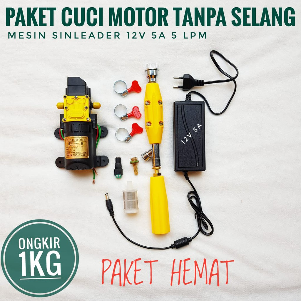 Paket Cuci Motor Mini Steam Mini Pompa Dc 12v Tanpa Selang Adaptor