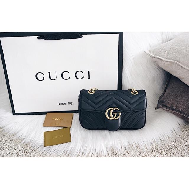 c4f28061d8c8 Waist bag gucci GG marmont metelasse leather belt bag mirror   Shopee  Indonesia