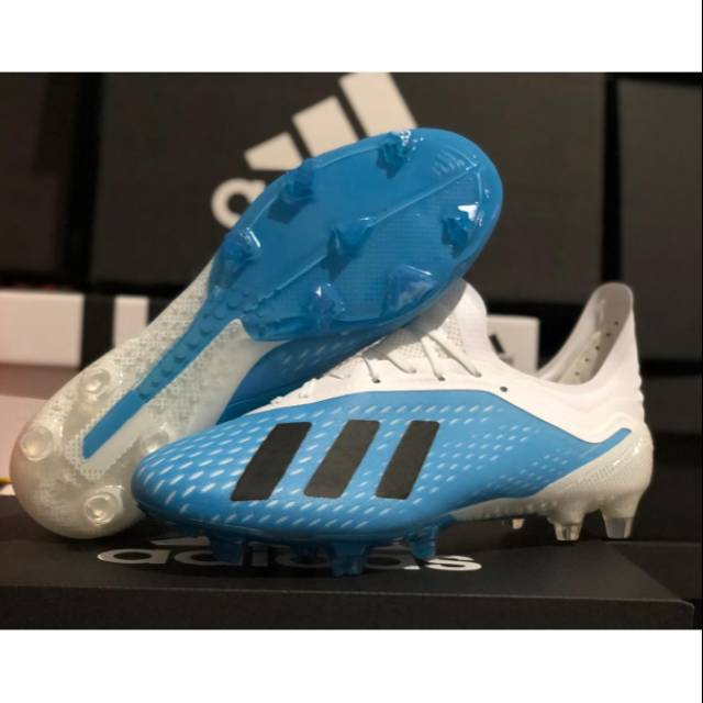 Sepatu Bola Adidas X 18 1 White Blue Black Fg Shopee Indonesia