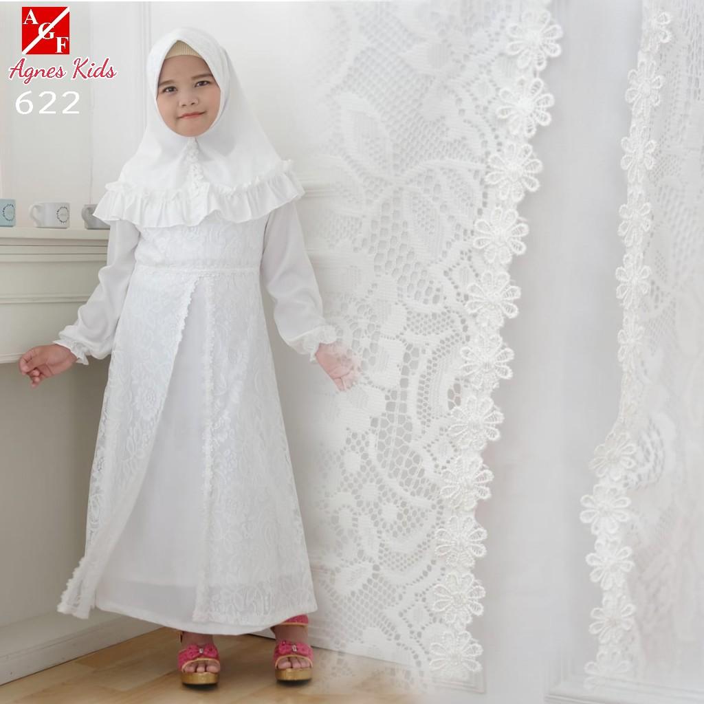 AGNES Gamis Putih Anak Perempuan Baju Muslim Baju Umroh Anak Baju Lebaran  Anak Wanita #8