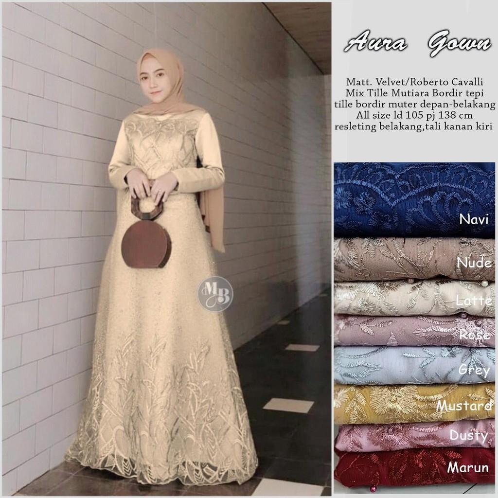 GAMIS BEST SELLER / Gamis Modern / Baju Kondangan / Baju Batik Wanita  Modern Terbaru Aura Gown