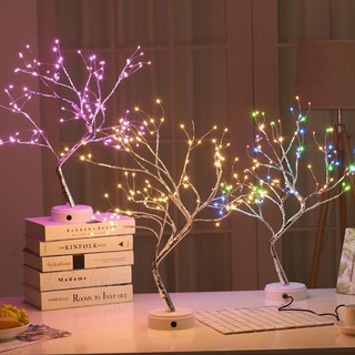 lampu meja tidur pohon hiasan unik colokan usb / tenaga
