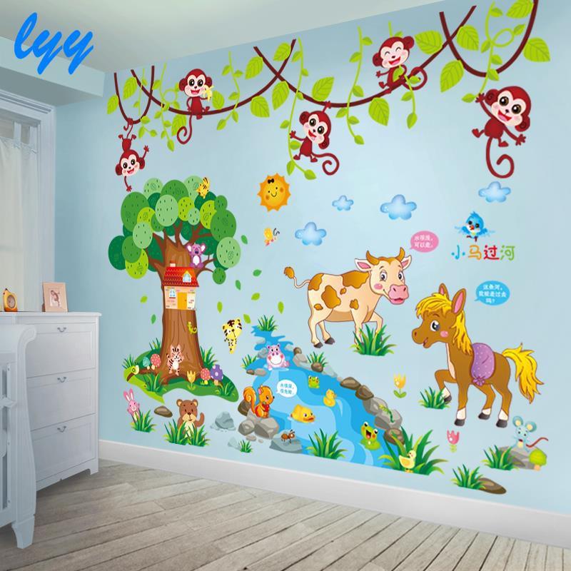 Kamar Anak Anak Kamar Bayi Dekorasi Kamar Tidur Kartun Stiker Dinding Hewan