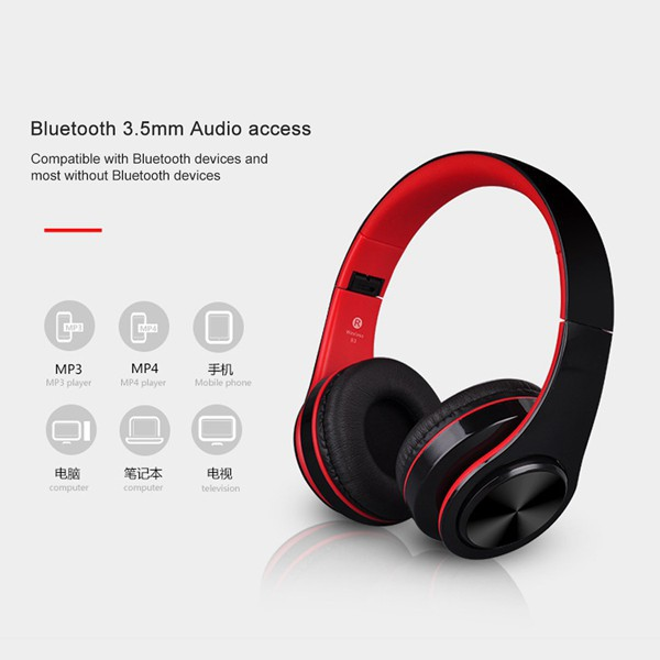 Stereo Audio Mp3 Earphone Bluetooth Foldable Wireless Headset Support SD Card Sports headphones | Shopee Indonesia