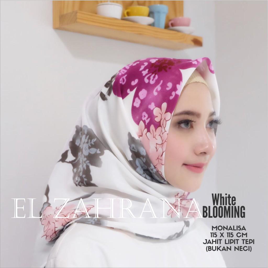 El Zahrana Jilbab Segi Empat Blooming Square Hijab Monalisa | Shopee Indonesia