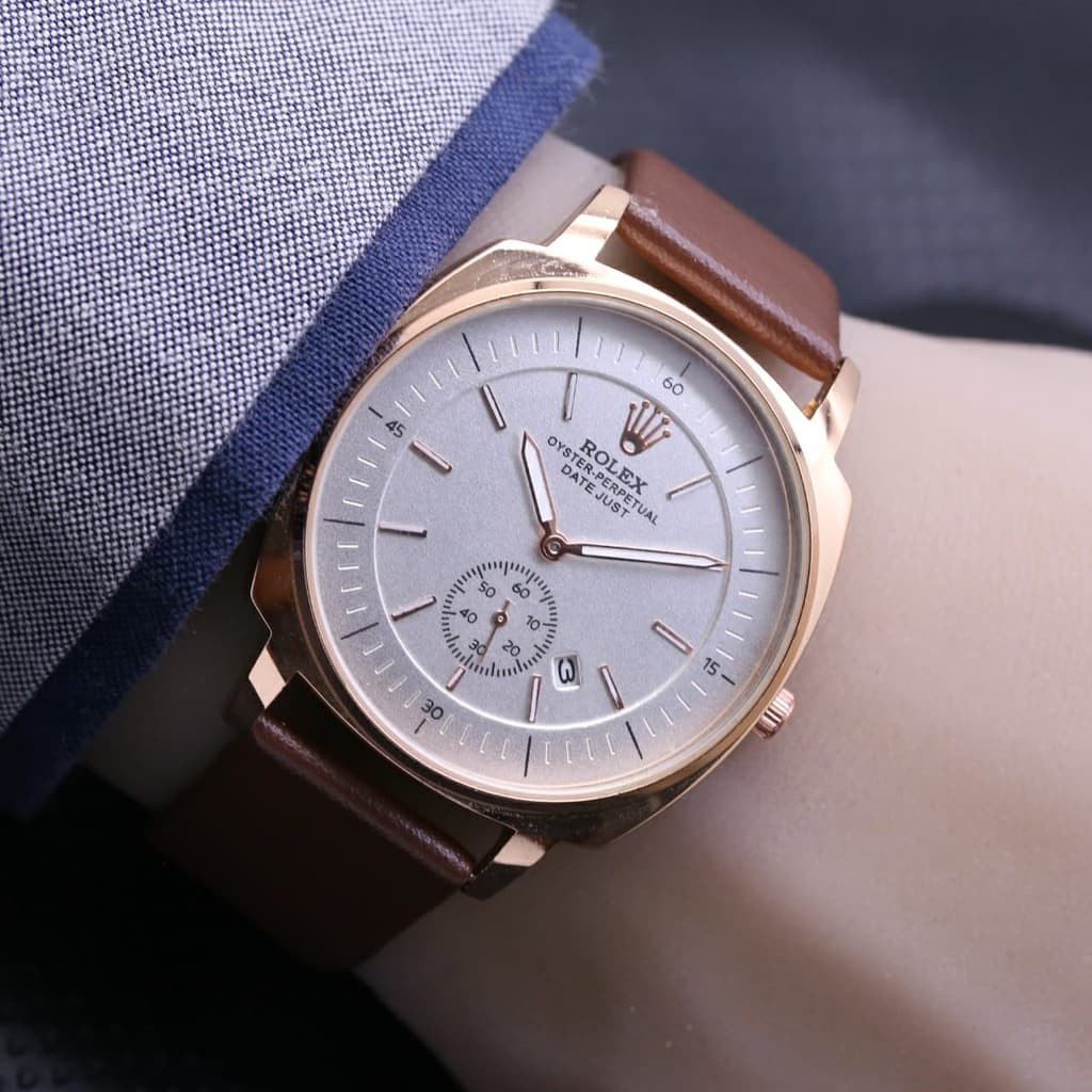 Jam Tangan Pria Rolex Automatic Mesin Tali Kulit  9a9e35c530