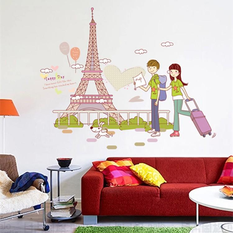 Wallpaper Dinding Kamar Gambar Menara Eiffel  reliza wall sticker stiker dinding couple n eiffel in love paris ay7201