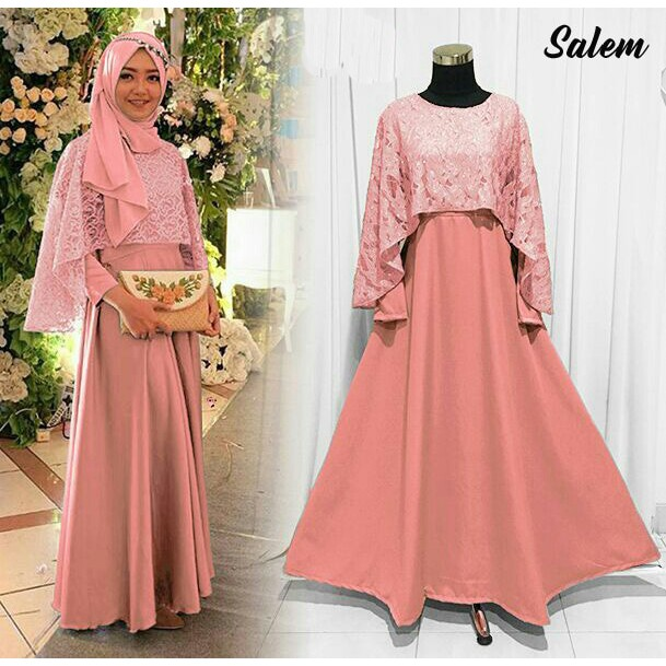 Baju Pesta Muslim Gamis Pesta Modern Party Dress Zamrah Warna Peach