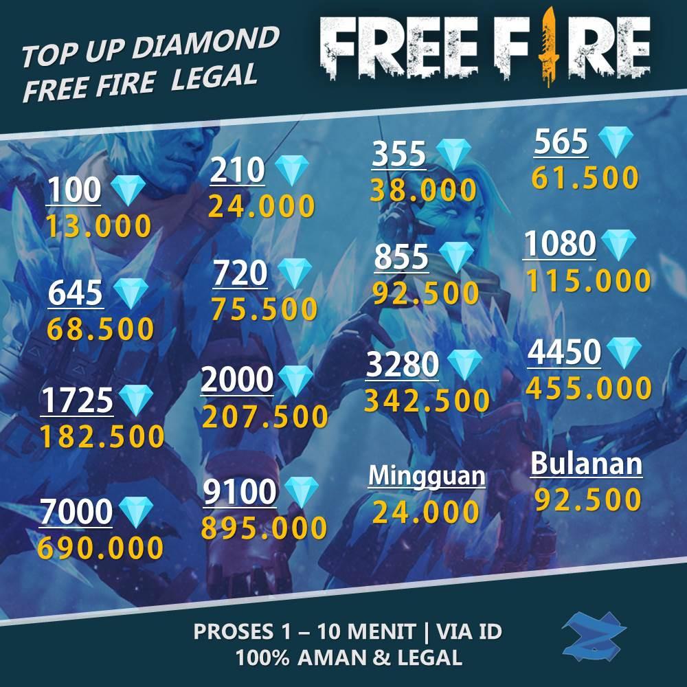 Top Up Diamond Freefire Garena Ff Termurah Tercepat Via Id Shopee Indonesia