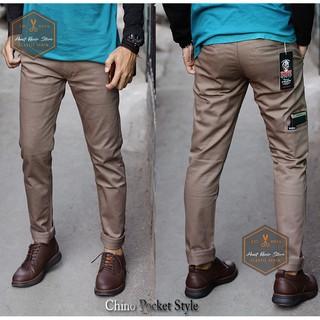 Celana chino pocket style panjang pria / cowok /cowok slimfit murah | Shopee Indonesia
