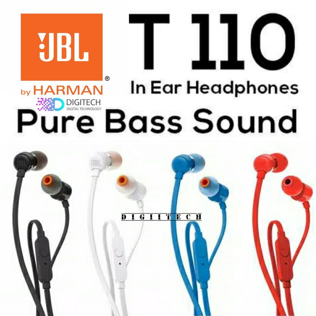 JBL T110 In Ear Headphones with microphone & flat cable - Black - Original - Garansi IMS 1 Tahun