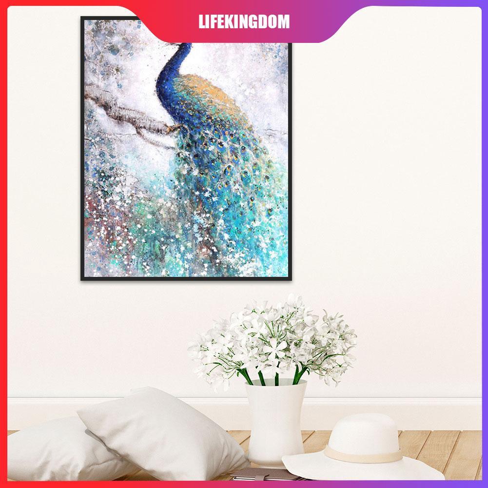 WA DIY Lukisan Diamond 5D Dengan Gambar Mozaik Burung Merak Untuk Hiasan Dekorasi Rumah