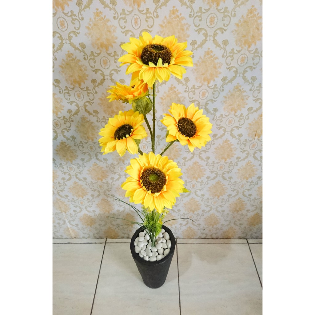 Pohon Bunga Matahari Artificial Plastik Hiasan Sudut Ruangan Bunga Matahari Palsu Shopee Indonesia