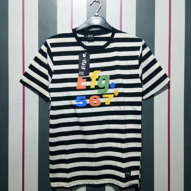 Baju Kaos Distro Efg New Art Garis Abu Hitam Ready Stok Kaos Strip