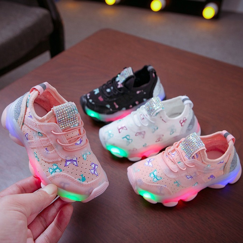 Sepatu Lampu Anak Perempuan Led Butterfly Model Kupu Kupu Shopee