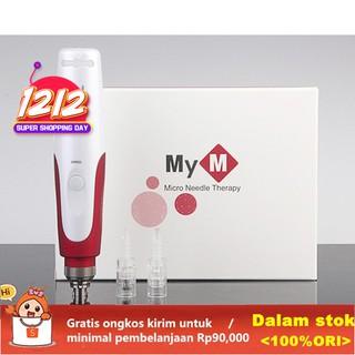 MYM Dermapen Roller Jarum Mikro Elektrik Derma Pen dengan 2 Katrid untuk  Anti Aging/Perawatan Wajah