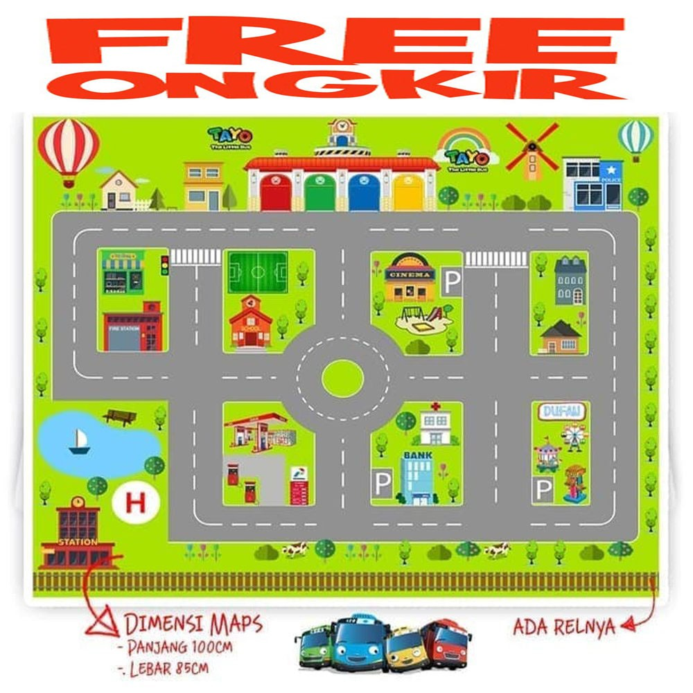 Mainan Maps Jalanan Mobil Bis Bus Tayo Cars Hotwheels Poli Mainan Edukasi Ular Tangga Shopee Indonesia