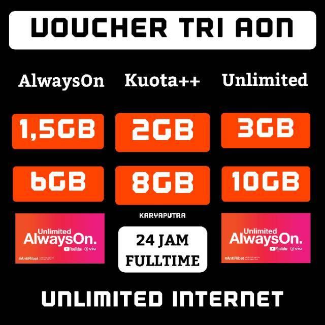 TRI AON UNLIMITED 1GB 2GB 3GB 4GB 5GB 6GB 8GB 10GB VOUCHER