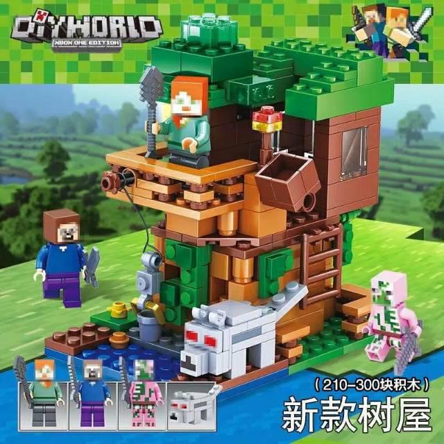 Lego Not Minecraft World The Jungle Tree House Set Creeper Steve Minifigures Mainan Anak Import Shopee Indonesia