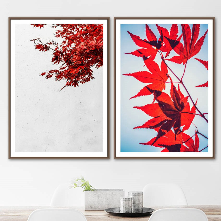 Red Maple Leaf Nature Plants Landscape Wall Art Canvas Painting Nordic Posters And Prints Wall Pictures For Living Room Decor Shopee Indonesia