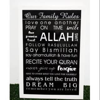 Hiasan Dinding Wall Decor Family Rules Islami Hitam Putih | Shopee Indonesia