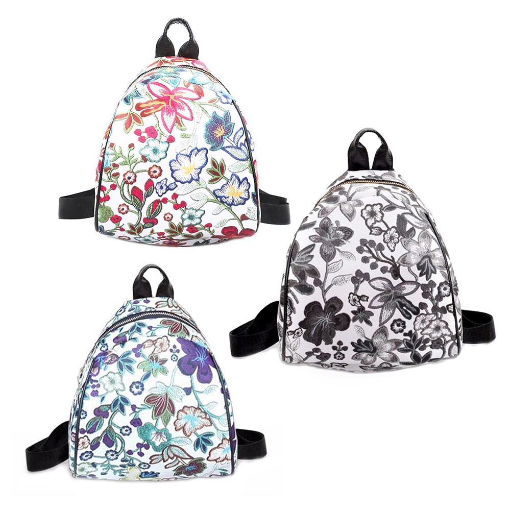 Fashion Wanita Tas Ransel Dengan Motif Print Floral Bahan Kulit Pu Untuk Musim Panas Dapat 4pcs Model Chic Kanvas Sekolah Travel Shopee Indonesia