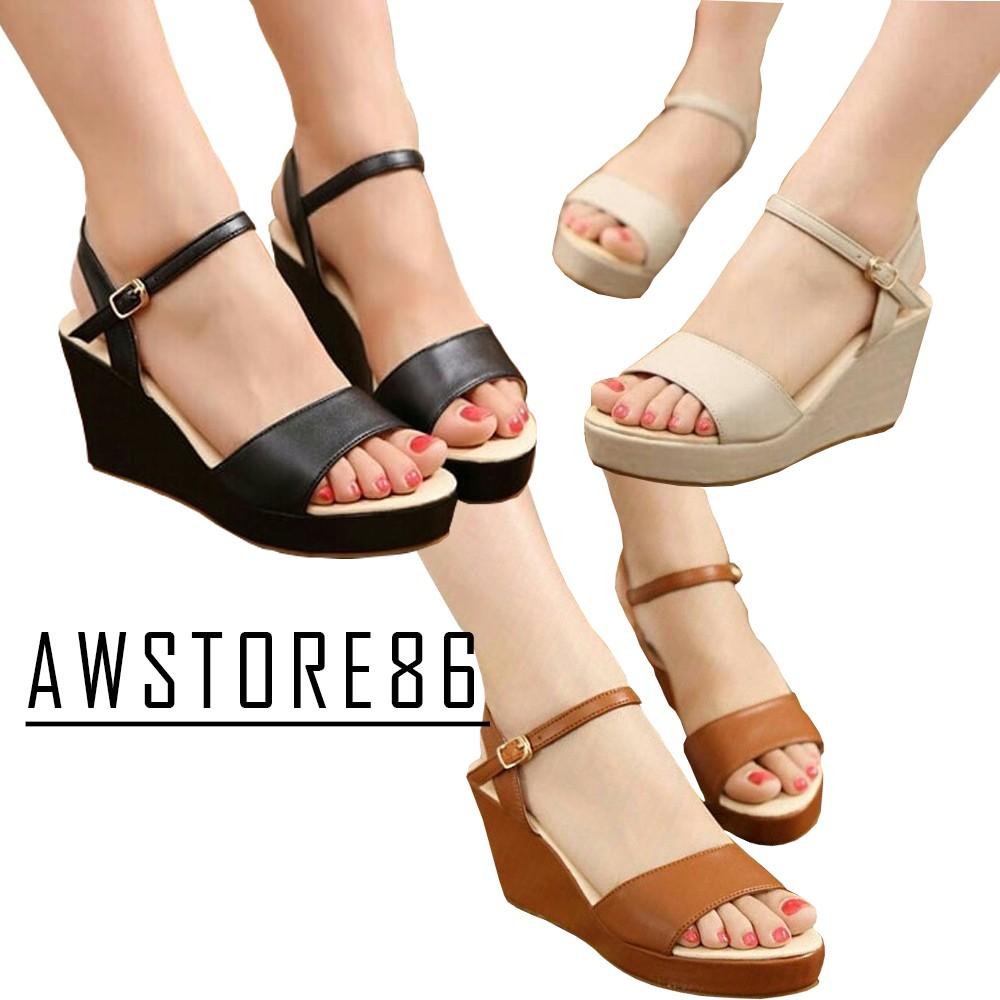 Bng Corner Sepatu Sandal Wedges Tali Wanita Bl01 Mocca Hitam Moca Shopee Indonesia