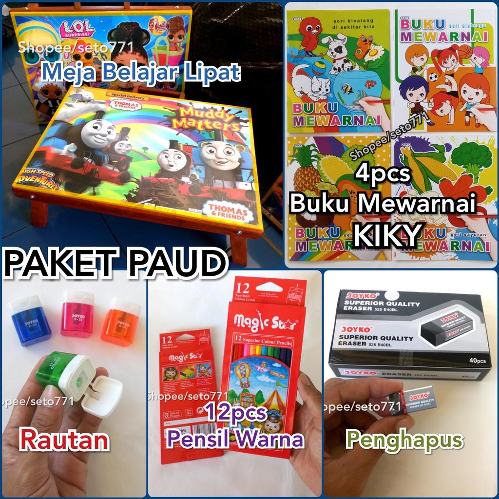 PAKET PAUD Meja Kayu Lipat 4pcs Buku Mewarnai 12pcs Pensil Warna Rautan Penghapus Belajar