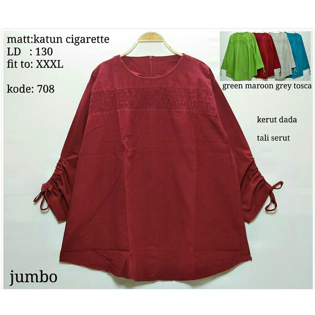 Baju Blouse Jumbo Atasan Wanita Big Hoshiko Salur Lengan Panjang Bigsize Star Xxl Size Oversize Shopee Indonesia