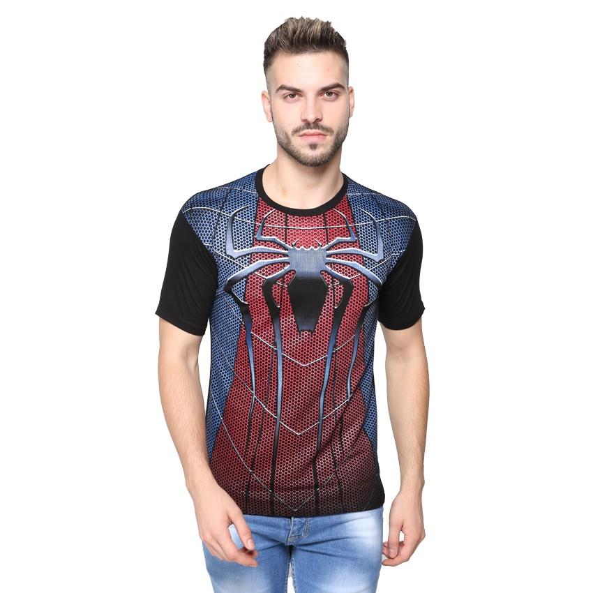 Kaos Pria / Distro Premium / T-shirt Cowok Superhero Spiderman Full Print - Hitam Abu - Vanwin