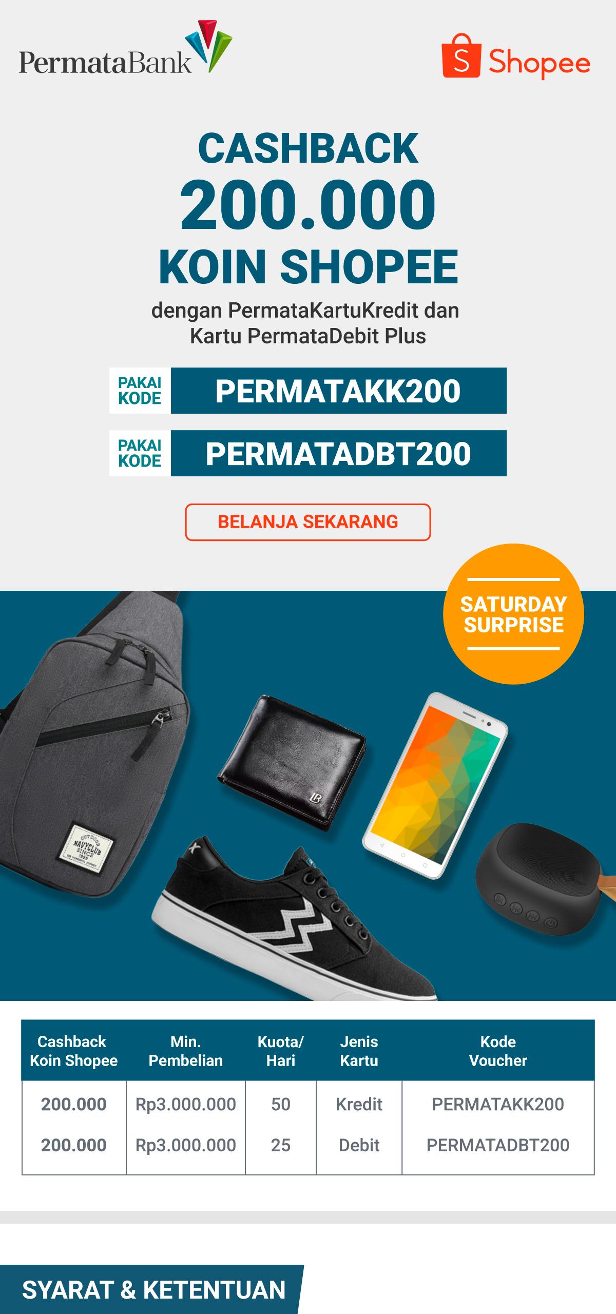 Cashback 200rb Koin Shopee Pakai Kartu Debit Dan Kredit Permata
