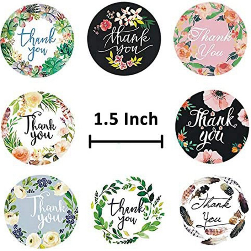 Cheap 2 Roll 1 5 Inch Thank You Stickers Labels Roll 1000 Labels Thank You Stamp For Shipping Bags Shopee Indonesia