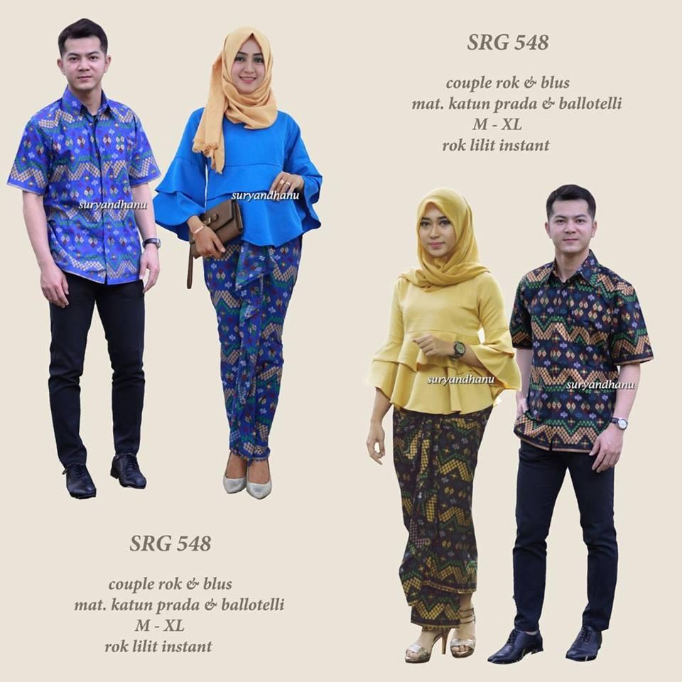 SRG 548 Batik couple baju pesta kebaya modern blus tumpuk peplum rok lilit  seragam pakaian wanita  aa6ea5428d