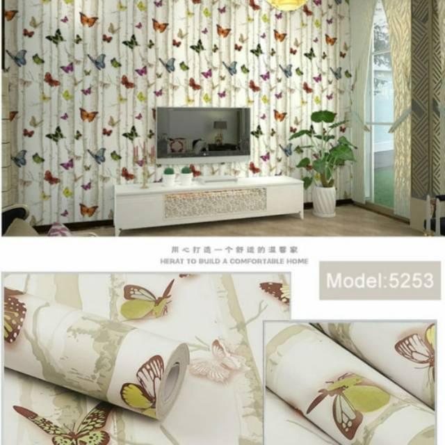 1kg Wallpaper Dinding Ruang Tamu Rumah Kamar Tidur Uk 45cmx10m 5253 Shopee Indonesia