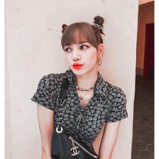Blackpink Lisa Floral Print Mini Dress Gaya Korea Pendek ...