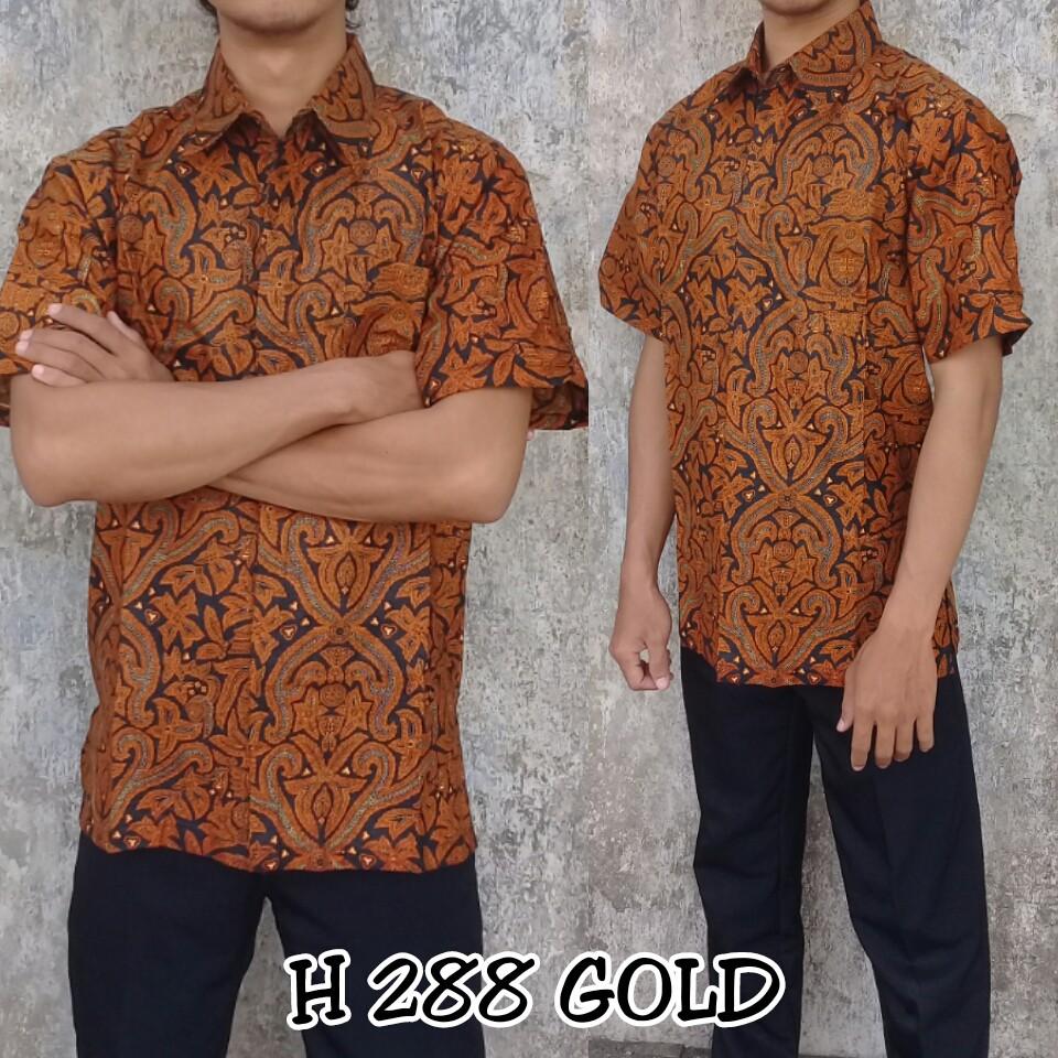 Batik Pekalongan Modern Bagus Murah Motif Prada Emas Atasan Kemeja Pria Lengan Pendek 2 Layer Mlxl Fashion Muslim Shopee Indonesia
