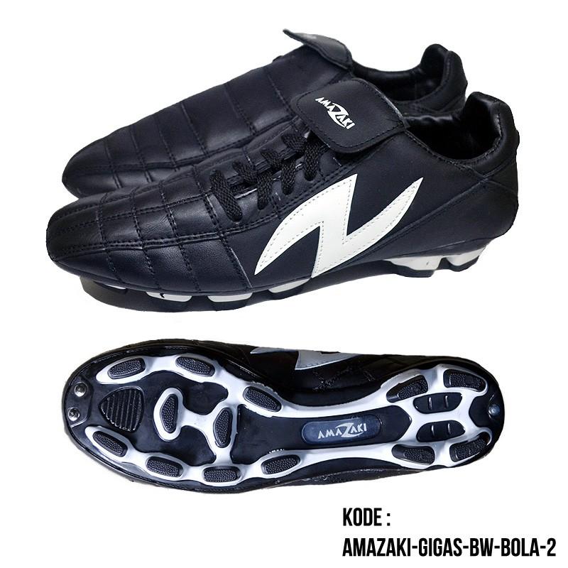Sepatu Bola Kulit Sapi Asli Warna Hitam Polos - Amazaki Mono Black FG | Shopee Indonesia