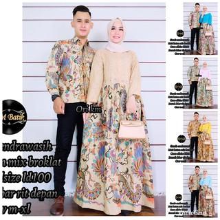 Zola Batik Batik Couple Gamis Brokat Ranting Burung Kelabang 2595