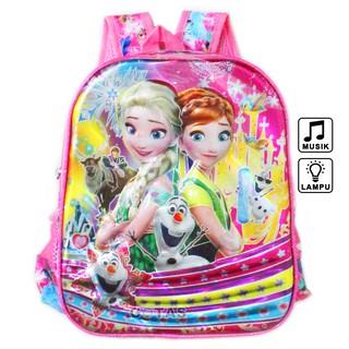 Tas Ransel Anak Sekolah TK Lampu Music Karakter Frozen 7D Timbul 2 Kantong Pink Full Motif